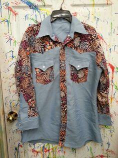 men's vintage pearl snap down cowboy shirt long sleeve size XL XXL Handmade Blue Navy Tan Floral Print Yoke 1970s by RagsAGoGo, $25.00