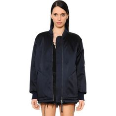 Alexander Wang Women Oversized Technical Satin Bomber Jacket (£570) ❤ liked on Polyvore featuring outerwear, jackets, navy, fleece-lined jackets, lined bomber jacket, flight jackets, zip front jacket and alexander wang jacket