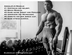 The 6 rules of success of Arnold Schwarzenegger not only for fitness. Fitness Motivation, Fitness Gym, Training Motivation, Fitness Models, Muscle Fitness, Fitness Quotes, Arnold Bodybuilding, Arnold Schwarzenegger Bodybuilding, Bodybuilding Quotes