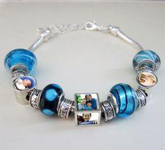 Starter Photo Beads Bracelet w/ 3 Photo Beads Light Blue Kit