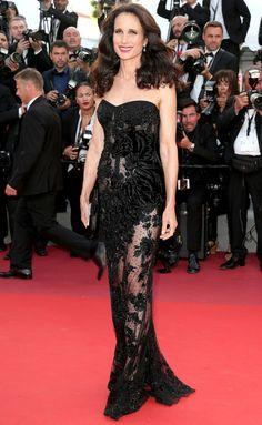 Andie MacDowell in Roberto Cavalli   Best Dressed Stars on Cannes Red Carpet 2017
