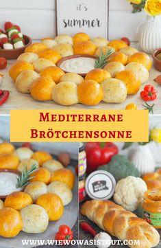 {Werbung } Diese mediterrane Brötchensonne ist der Hingucker auf jedem Buffet. Verschiedene kleine, fluffige Mini - Brötchen aneinandergereiht in verschiedenen Farben. Mit Thymian, Rosmarin oder getrockneten Tomaten & Ajvar. Dazu leckere Aufstriche und ein paar Tapas und fertig ist das kleine Buffet. Auch zum Grillen die optimalen Brötchen.  #brötchen #brötchensonne #kaufland