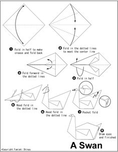 Origami Swan ~ This would make a beautiful mobile.