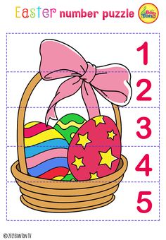Easter themed Preschool Printables - Free worksheets, number puzzles - tracing letters, numbers and other activities - fun learning by BonTon TV Easter Activities For Kids, Preschool Learning Activities, Preschool Printables, Preschool Crafts, Fun Learning, Easter Crafts, Math For Kids, Kids Fun, Toddler Activities