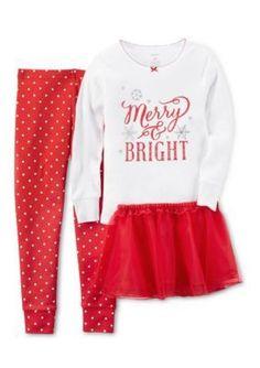 Carters  3-Piece Snug Fit Cotton Christmas Pajamas  Tutu Set