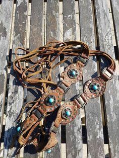 Vintage leather concho belt,boho/festival accessory