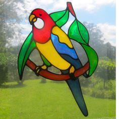 parrot lorikeet Suncatcher window sticker decal stained glass style Sunshiner by Sunshiners on Handmade Australia