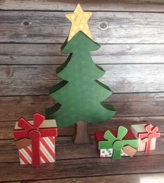 Presents Under the Tree - Wood Home Decor by ScrapHappyPagesStore on Etsy