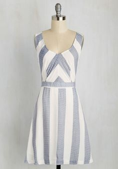 Mixtape and Match Dress in Navy - Blue, White, Stripes, Print, Casual, Sundress, A-line, Sleeveless, Spring, Woven, Good, Mid-length, Cotton, Variation, Summer, White