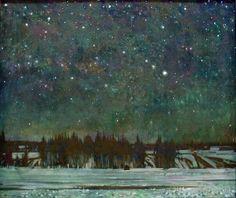 """Heavenly Souls,"" by Russian artist Michael Abakumov Nocturne, Forest Art, Night Skies, Impressionism, Landscape Paintings, Landscape Art, Illustration Art, Illustrations, Fine Art"