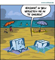 Thema van de cartoon op deze pagina: Tegen uv stralen kan men zich beter…
