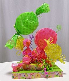 DIY candy theme centerpiece kits for party table decorations. Also for sweets and sweet 16 parties. Make your own party centerpieces. Candy Centerpieces, Candy Decorations, Centerpiece Ideas, Table Decorations, Candy Land Theme, Party Fiesta, Best Candy, Quinceanera Party, Colorful Candy