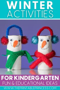 Warm up your winter lesson plans this season with 8 new, exciting, and DIY-style winter-themed learning ideas for kindergarten. You'll find math activities, literacy activities, a snowman craft, penguin craft, and penguin snack idea! #winterlearningideas #winteractivities #iteachk #kindergartenteacher #kindergartenclassroom #penguinactivities #snowmanactivities