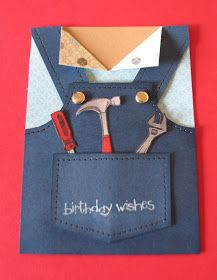Stampin Up Stamp set used is called Totally Tools. Used Mat pack 105826 to make faux stitching on overalls Tutorial Base card In Skin type ...