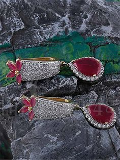Earrings with Sparkling CZ and Pinkish Red Stone