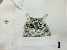 hand embroidered cat in the pocket on the white shirt by ShopGoGo5