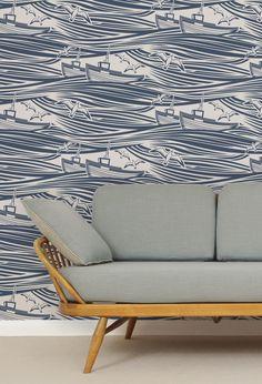 Wonderful tugboat and seagull wallpaper.