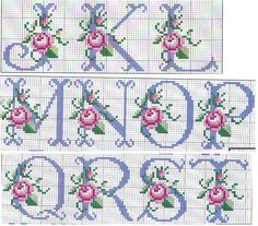 23 Trendy Ideas For Embroidery Patterns Alphabet Watches Cross Stitch Alphabet Patterns, Cross Stitch Letters, Cross Stitch Borders, Cross Stitch Baby, Cross Stitch Flowers, Cross Stitch Charts, Cross Stitching, Embroidery Monogram, Diy Embroidery