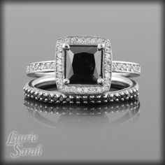 Square Cut Black and White Diamond Engagement Ring and Wedding Band Set - LS1955. $2,812.20, via Etsy.