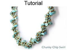 Gemstone Chip Spiral Stitch Rope Beaded Bracelet Necklace Downloadable PDF Beading Pattern Tutorial | Simple Bead Patterns