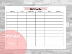 Free Planner Printables | fits Leuchtturm large | Timetable | Stundenplan | Back to school | kostenlos | Schule