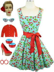 now in stock www.lebombshop.net  50s Style AQUA CHERRY Print CHERRIES JUBILEE ScoopNeck FULLSKIRT PINUP Sun Dress