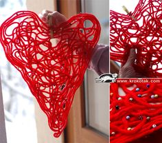 kids craft for valentine's day, mothers' day  yarn  glue  water  sequins and/or beads