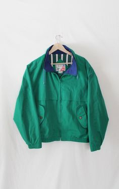 90s EAGLES RIDGE College Kid Spring Fall Quad Jacket // Green Blue Double Collar // Pinstripe Lining // Mac Demarco Style by VegaGenesisVintage on Etsy