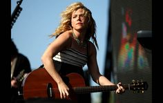 The Band Perry lead singer Kimberly Perry performs on the Mane Stage.