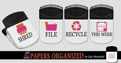 These 4 magnetic clips are to be used to help you as you organize your paper and go through your Sunday Basket each week.