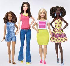 Barbie 2016   Three new body types - Petite, Tall, Curvy - and Original