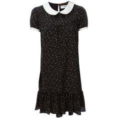Saint Laurent polka dot babydoll dress ($2,505) ❤ liked on Polyvore featuring dresses, black, short-sleeve dresses, doll dress, collared babydoll dress, baby doll collar dress and collar dress