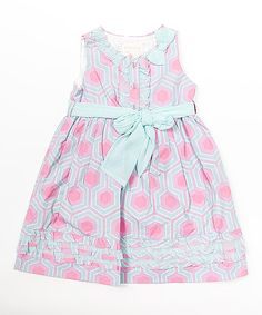 Look at this Trish Scully Child Pink Geometric Button Ruffle Dress - Infant, Toddler & Girls on #zulily today!