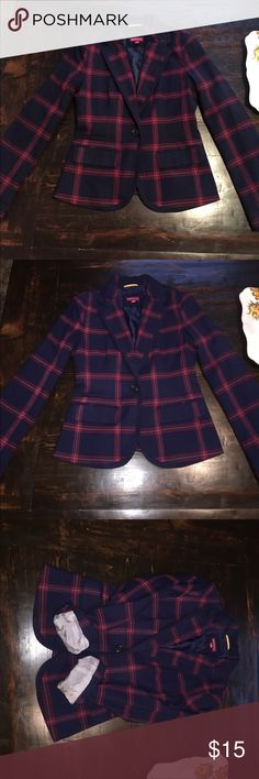 Cute plaid blazer Love this blazer- Blair Waldorf-esquire. In good condition no flaws. Navy cranberry & mustard yellow. Cute lining and fun pop of mustard yellow on the collar. Merona Jackets & Coats Blazers