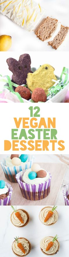 12 Vegan Easter Dessert Recipes (With images) Desserts Végétaliens, Best Vegan Desserts, Desserts Ostern, Vegan Dessert Recipes, Vegan Treats, Delicious Vegan Recipes, Easter Desserts, Vegetarian Recipes, Easter Cupcakes