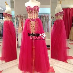 Romantic Hot Pink Detachable Tulle Party Dresses crystals Long Prom Formal Evening Gowns