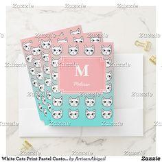 White Cats Print Pastel Custom Pocket Folder Sets; ArtisanAbigail at Zazzle