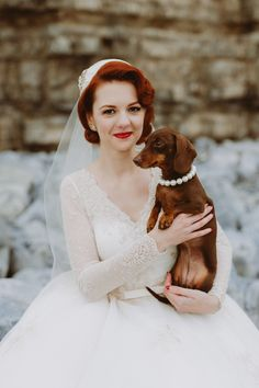 Vintage Wedding Hair A little Dachsund wedding dog guest wearing a pearl necklace. Image by Emily 1940s Wedding Theme, Farm Wedding, Wedding Blog, 1940s Wedding Hair, Vintage Wedding Hairstyles, 1940s Hair, Wedding Cars, Bling Wedding, Rustic Wedding