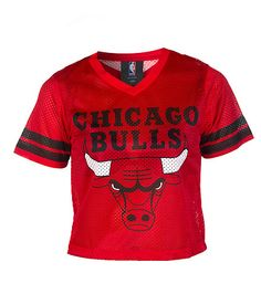 NBA 4 HER Chicago Bulls mesh crop top Long sleeves Stripes on sleeves V neck cut Lightweight for comfort