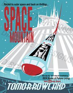 Vintage Disney World WDW Space Mountain Poster