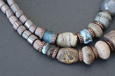 Artisan ceramic, lampwork and copper necklace / One of a kind