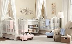 Twin baby nursery room decorating ideas