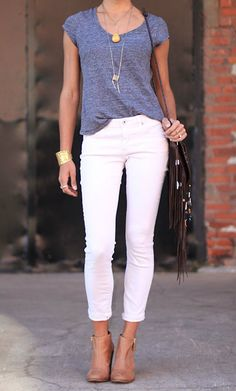 white jeans outfit for spring - Google Search