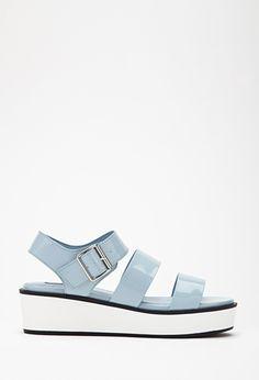 Faux Leather Flatform Sandals | FOREVER21 | #stepitup