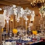 Suhaag Garden, event decor, Florida Indian wedding decorators, dessert lounge, manzanita branches, crystal beads, white orchids, floating candles,