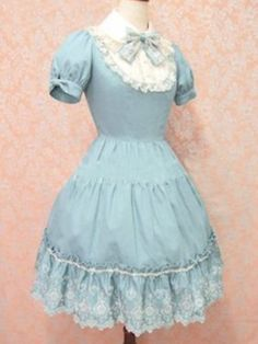 Light Blue Short Sleeves Bow Cotton Sweet Lolita Dress