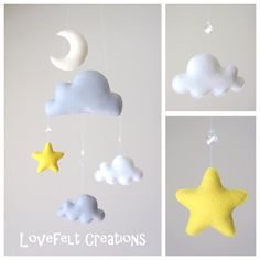 READY TO SHIP Baby mobile Stars mobile Cloud от LoveFeltXoXo