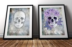 Coffee lovers alternative fine art prints #RockChicBoutique #Skulls #WallArt