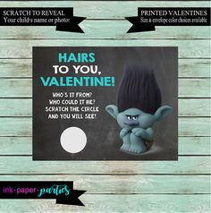 Trolls Valentine Scratch Off Style Card, scratch to reveal your child's photo or name. Very cute and unique valentine idea!