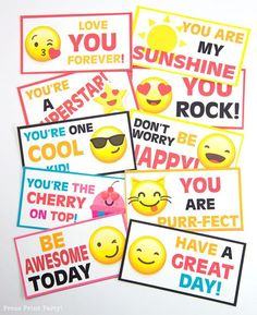 Free Emojis Lunch Box Cards Printable – by Press Print Party! – Healthy Food Drinks Recipes – Picture and Video Recipes Party Lunch Boxes, Boys Lunch Boxes, Lunchbox Notes For Kids, School Lunch Box, Party Box, School Notes, Packing School Lunches, Kids Notes, Box Lunches
